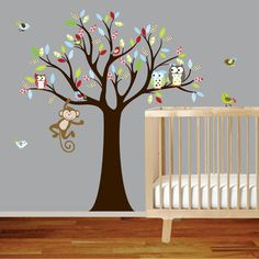 Wall decal tree with pattern leavesmonkeyowl and by wallartdesign, $99.00