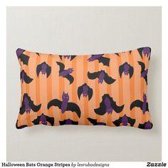 Halloween Bats Orange Stripes Lumbar Pillow Halloween Pillows, Halloween Home Decor, Halloween Bats, Halloween House, Custom Pillows, Decorative Throw Pillows, Home Goods Decor, Halloween Invitations, Couch Pillows