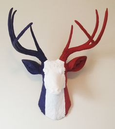 French Flag Deer Head Wall Mount by BananaTreeStudios on Etsy, $175.00