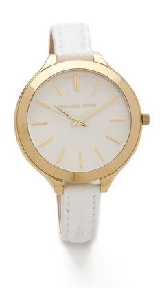 Michael Kors Leather Slim Runway Watch - A delicate leather band perfectly balances the oversized dial of this gold-tone watch. Adjustable length and buckle closure. Cute for summer!