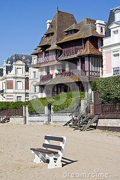 The beach and typical buildings in Trouville-sur-mer, Normandy, France.