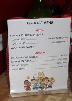 Theme your Peanuts Movie night with Charlie Brown Characters on your concession signs. - - A unique movie night theming idea from Southern Outdoor Cinema Peanuts Gang Birthday Party, Birthday Party Menu, Snoopy Birthday, Snoopy Party, Girls Birthday Party Themes, Little Girl Birthday, Sons Birthday, 4th Birthday Parties, Birthday Ideas