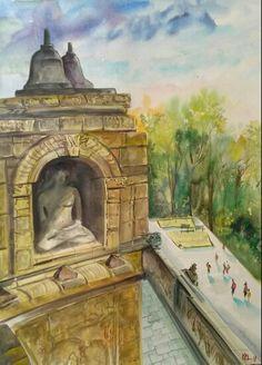 """""""Borobudur,Indonesia."""" Water colour. Size 56*76cm."""