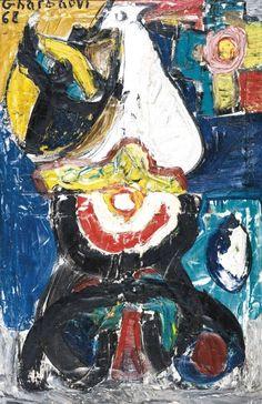 Jilali Gharbaoui (1930-1971), Éclosion, 1968, huile sur panneau, 100 x 65 cm. Frais compris : 292 360 €. Mardi 27 et mercredi 28 octobre, 6, avenue Hoche. Cornette de Saint Cyr maison de ventes SVV. La Marocaine des Arts maison de ventes.