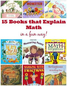 Awesome books for teaching  math concepts to kids -  the perfect idea for kids who love to read but don't like math!
