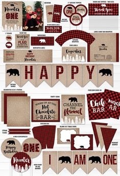 printable winter plaid complete birthday party package winter plaid birthday invitation snow 1st birthday bear snowy trees red and black buffalo