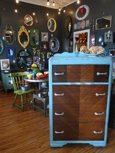 Waterfall Dresser, Restored Drawer Fronts, Aged Aqua Blue Case. Modern  Vintage