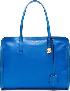 Alexander McQueen Blue Leather Zip Around Skull Padlock Bag