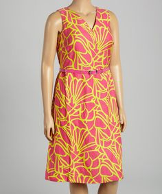 Love this Pink & Lime Abstract Sleeveless Dress - Women & Plus on #zulily! #zulilyfinds