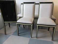 Enrique Garcel Set Of Six Vintage, Mid-Century Modern Emerald Green Goatskin And Bone Dining Room Chairs by FLORIDAMODERN on Etsy