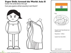 First Grade Paper Dolls Community & Cultures Worksheets: Indian Paper Doll Kids Around The World, Holidays Around The World, Around The Worlds, Coloring For Kids, Coloring Pages, Coloring Worksheets, Coloring Books, Harmony Day, Dance Of Death