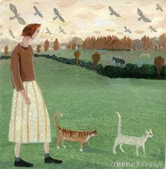 Dusk with two cats - Dee Nickerson - Southwold Gallery