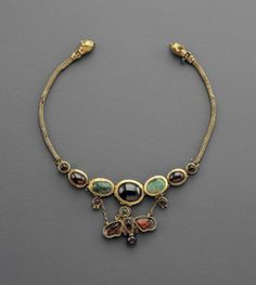 A Hellenistic Butterfly Necklace Composed of Gold, Emerald, and Garnet    2nd century B.C