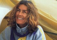 She died while climbing Kangchenjunga. Famous Polish People, Alternative Names, Mountain Climbers, Central Asia, Climbing, Long Hair Styles, Mount Everest, Skiing, Boat