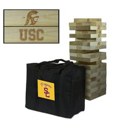 Show off your USC Trojans spirit with this Giant wooden tumble tower game! The wood blocks are laser engraved with the Trojans logo as shown in the product image. This large Jenga-style tumbling tower