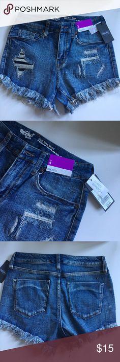 High Rise Distressed Denim Shorts NWT. Super stretch. Mossimo Denim Shorts Jean Shorts