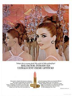 Max Factor - Hair and Makeup Artist Handbook 1960s Makeup, Makeup Ads, Vintage Makeup, Kiss Makeup, Love Makeup, Vintage Beauty, Vintage Ads, Retro Ads, Vintage Glamour