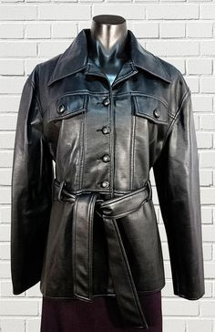 CHRISTOPHER ARI retro black soft vinyl ladies jacket with belt lined size 14 by sprocket2chain - $25.00