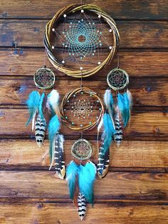 Dream catcher Willow Dreamcatcher Blue green catcher Brown catcher Turquoise catcher Boho dream catcher Amulet Native American Home Decor Grand Dream Catcher, Dream Catcher Decor, Beautiful Dream Catchers, Large Dream Catcher, Dream Catcher Boho, Making Dream Catchers, Rooster Feathers, Pheasant Feathers, Dreamcatcher Design