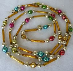 Beautiful vintage glass bead garland. Christmas beaded garland