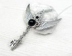 necklace angel wings key fantasy key fantasy jewelry black angel wings key pendant