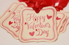 Valentine's Day Tags - Vintage Valentine's Day - Vintage Valentine's Day Tags - Happy Valentine's Day Tags