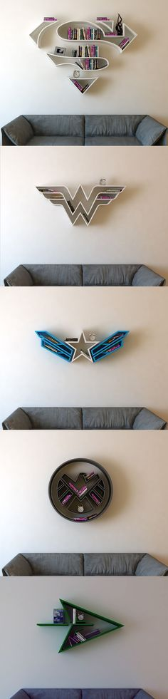 Superman, Wonder Woman, Captain America, SHIELD, Green Arrow Bookshelf (Geek Stuff Diy) (Cool Diy Bedroom)