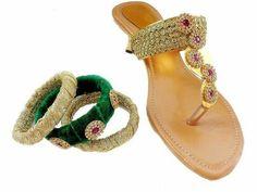 Handroidary slipons with matching bangles Price: 1099 #elegantfashionwear #handroiday #slipons #matchingbangles