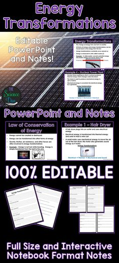 Introduce or help your students review Energy Transformations and the Law of Conservation of Energy with this PowerPoint presentation and student notes pages.  5 energy transformation examples are also included.