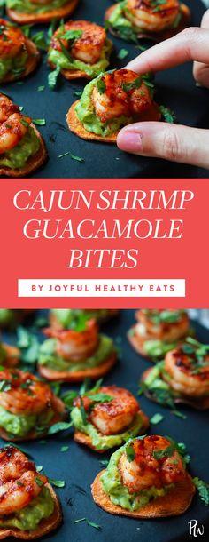 Cajun shrimp guacamole bites by Joyful Healthy Eats. 25 Crowd-Pleasing Fourth of July Recipes #purewow #summer #fourth of july #food #recipe #holiday #fourthofjulyrecipes #fourthofjuly #summerrecipes #entertaining #easyrecipes #partyfood #partyrecipes