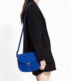 Mango Buckle Suede Bag in Klein Blue