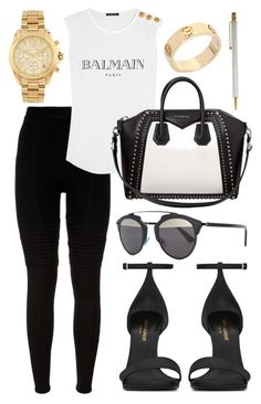 """""""Sin título #513"""" by alejandramalagon ❤ liked on Polyvore featuring Givenchy, Balmain, Christian Dior, Yves Saint Laurent, Michael Kors and Cartier"""