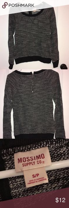 Sweater Black white and gray sweater! Super comfortable, silver zipper on the back adds a nice detail. Gently used. Sweaters Crew & Scoop Necks