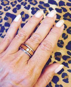 Titanium Wood and Diamond Wedding Band From Hawaii Titanium Rings® Wedding Ring Hand, Diamond Wedding Bands, Wedding Rings, Titanium Rings, Wood Rings, Classic Beauty, Class Ring, Hawaii, Mango
