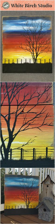 Sunset painting, pallet wall art, sunset art, Silhouette tree art, reclaimed wood decor, handmade art, distressed tree   Have you been looking for that one unique piece of artwork that just catches your eye?  Original Acrylic painting on reclaimed pallet and fencing. The edges are lightly sanded for an aged appearance.  This unique piece is 22 in tall x 19 in wide.