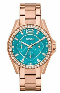 Fossil 'Riley' Round Crystal Bezel Bracelet Watch, 38mm   Nordstrom