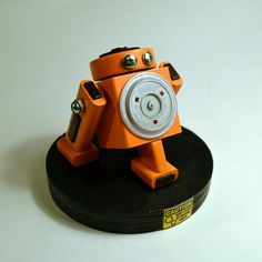 Orange Robot Desk Sculpture by DeviceZero on Etsy, $35.00