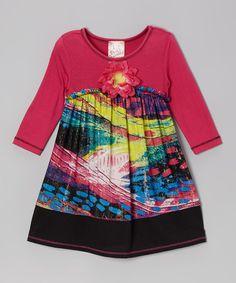 Fuchsia & Black Flower Dress - Girls by Pink Vanilla #zulily #zulilyfinds