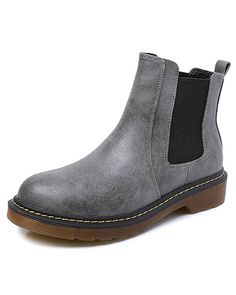 Maybest Womens Ladies Round Toe Chelsea Low Block Heel Winter Leather Comfort Ankle Boots * Trust me, this is great! Click the image. : Desert boots
