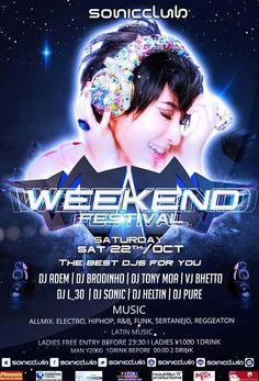 Balada com entrada de mulher na faixa até as 23:30hs e a presença dos DJs Adem, L_30, Bhetto, Brodinho, Tonny Moa, Sonic, Pure e Heltin! Não perca!!!