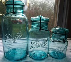 Vintage Ball Jars...have some in my kitchen...love the color!