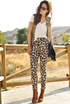 Street Style Look With Leopard Print Details. Of course if you're tall and thin, everything looks chic.  If you have big boobs and an ass, you look like a stereotypical Jersey housewife.