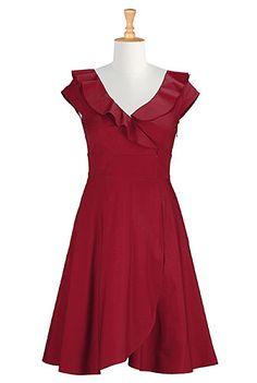 I <3 this Ruffle cotton poplin dress from eShakti