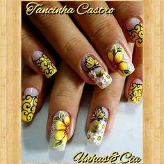 Merry Go Yellow Anniversary Nail Art Flower Nail Designs, Pretty Nail Designs, Flower Nail Art, Nail Art Designs, Summer Nails 2018, Spring Nails, Anniversary Nails, Sassy Nails, French Nails