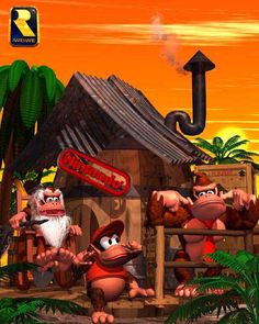 Cranky, Diddy, and Donkey Kong