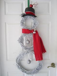 Grape Vine Wreath Snowman