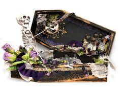 Flying Unicorns Oct OTP ( Off the Page and Altered) - Coffin - wood coffin, skeleton Halloween Coffin, Halloween Cards, Halloween Gifts, Spooky Halloween, Halloween Decorations, Halloween Scrapbook, Halloween Stuff, Diy Party Gifts, Halloween Miniatures