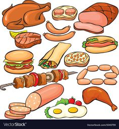Meat products icon set Royalty Free Vector Image – Top Of The World Food Pyramid Kids, Activities For Kids, Crafts For Kids, Food Clipart, Food Cartoon, Food Icons, Food Illustrations, Cute Food, Icon Set