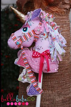 Beautiful Boutique Hobby Horse  Unicorn  all hand by bellabebeco, $150.00