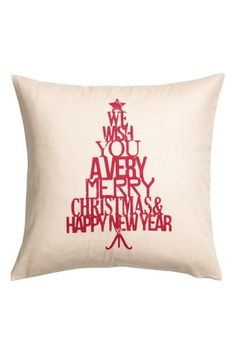 Christmas-print cushion cover: Cotton twill cushion cover with a Christmas print motif on the front and a concealed zip.